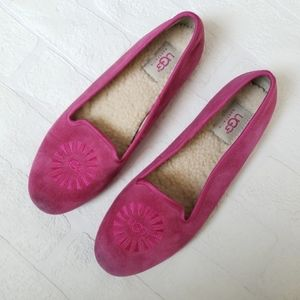 UGG Alloway Pink Raspberry Suede & Sherpa Flats